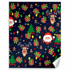 Santa And Rudolph Pattern Canvas 12  X 16   by Valentinaart