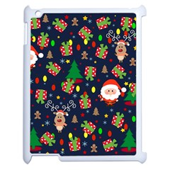 Santa And Rudolph Pattern Apple Ipad 2 Case (white) by Valentinaart