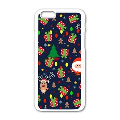 Santa And Rudolph Pattern Apple Iphone 6/6s White Enamel Case by Valentinaart