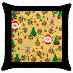 Santa And Rudolph Pattern Throw Pillow Case (black) by Valentinaart