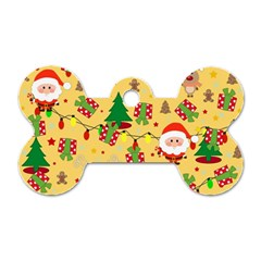 Santa And Rudolph Pattern Dog Tag Bone (two Sides) by Valentinaart