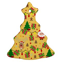Santa And Rudolph Pattern Ornament (christmas Tree)  by Valentinaart