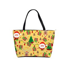 Santa And Rudolph Pattern Shoulder Handbags by Valentinaart