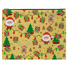 Santa And Rudolph Pattern Cosmetic Bag (xxxl)  by Valentinaart