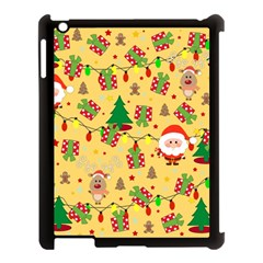 Santa And Rudolph Pattern Apple Ipad 3/4 Case (black) by Valentinaart