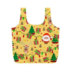 Santa And Rudolph Pattern Full Print Recycle Bags (m)  by Valentinaart