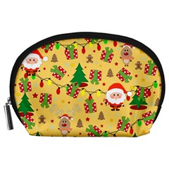 Santa And Rudolph Pattern Accessory Pouches (large)  by Valentinaart
