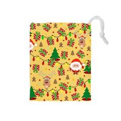 Santa And Rudolph Pattern Drawstring Pouches (medium)  by Valentinaart