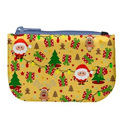 Santa And Rudolph Pattern Large Coin Purse by Valentinaart