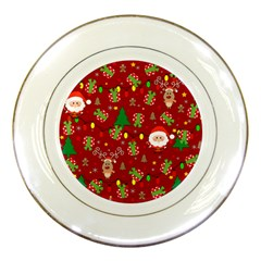 Santa And Rudolph Pattern Porcelain Plates by Valentinaart