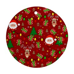 Santa And Rudolph Pattern Round Ornament (two Sides) by Valentinaart