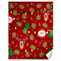 Santa And Rudolph Pattern Canvas 36  X 48   by Valentinaart