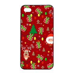 Santa And Rudolph Pattern Apple Iphone 4/4s Seamless Case (black) by Valentinaart