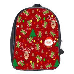 Santa And Rudolph Pattern School Bag (xl) by Valentinaart