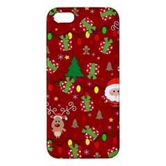 Santa And Rudolph Pattern Apple Iphone 5 Premium Hardshell Case by Valentinaart
