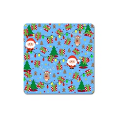 Santa And Rudolph Pattern Square Magnet by Valentinaart