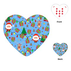 Santa And Rudolph Pattern Playing Cards (heart)  by Valentinaart