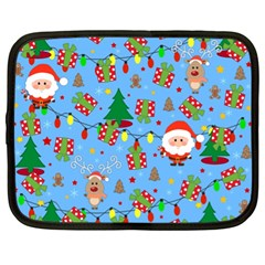Santa And Rudolph Pattern Netbook Case (xl)  by Valentinaart