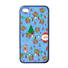 Santa And Rudolph Pattern Apple Iphone 4 Case (black) by Valentinaart