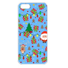Santa And Rudolph Pattern Apple Iphone 5 Seamless Case (white) by Valentinaart