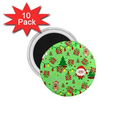 Santa And Rudolph Pattern 1 75  Magnets (10 Pack)  by Valentinaart