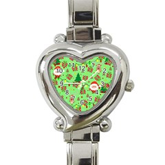 Santa And Rudolph Pattern Heart Italian Charm Watch by Valentinaart