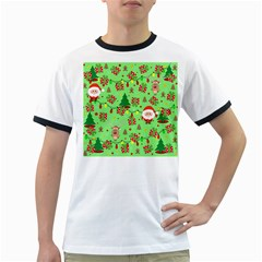 Santa And Rudolph Pattern Ringer T Shirts by Valentinaart