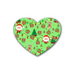 Santa And Rudolph Pattern Heart Coaster (4 Pack)  by Valentinaart