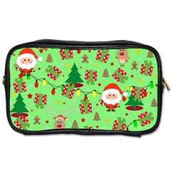 Santa And Rudolph Pattern Toiletries Bags 2 Side by Valentinaart