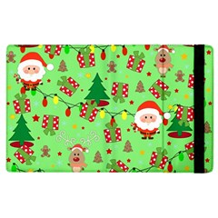 Santa And Rudolph Pattern Apple Ipad 3/4 Flip Case by Valentinaart