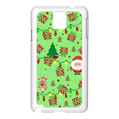 Santa And Rudolph Pattern Samsung Galaxy Note 3 N9005 Case (white) by Valentinaart