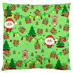 Santa And Rudolph Pattern Large Flano Cushion Case (two Sides) by Valentinaart
