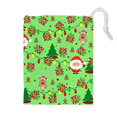 Santa And Rudolph Pattern Drawstring Pouches (extra Large) by Valentinaart