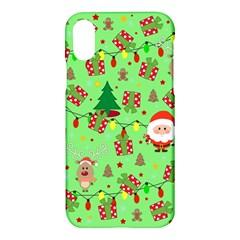 Santa And Rudolph Pattern Apple Iphone X Hardshell Case
