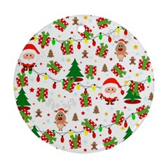 Santa And Rudolph Pattern Ornament (round) by Valentinaart