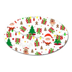 Santa And Rudolph Pattern Oval Magnet by Valentinaart