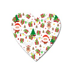 Santa And Rudolph Pattern Heart Magnet by Valentinaart
