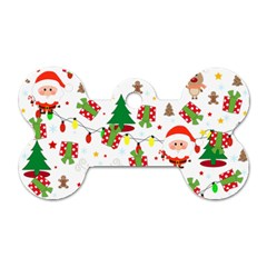 Santa And Rudolph Pattern Dog Tag Bone (one Side) by Valentinaart