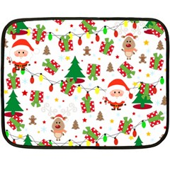 Santa And Rudolph Pattern Double Sided Fleece Blanket (mini)  by Valentinaart