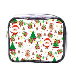 Santa And Rudolph Pattern Mini Toiletries Bags by Valentinaart