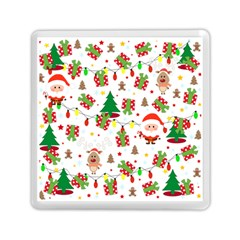 Santa And Rudolph Pattern Memory Card Reader (square)  by Valentinaart