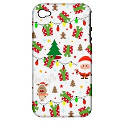 Santa And Rudolph Pattern Apple Iphone 4/4s Hardshell Case (pc+silicone) by Valentinaart