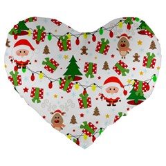 Santa And Rudolph Pattern Large 19  Premium Heart Shape Cushions by Valentinaart