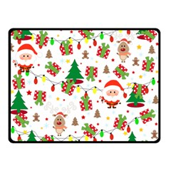 Santa And Rudolph Pattern Double Sided Fleece Blanket (small)  by Valentinaart