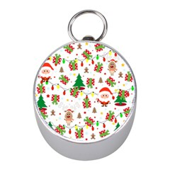Santa And Rudolph Pattern Mini Silver Compasses