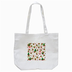 Santa And Rudolph Pattern Tote Bag (white) by Valentinaart