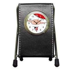 Santa  Pen Holder Desk Clocks by Valentinaart