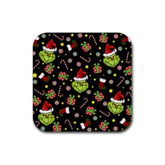 Grinch Pattern Rubber Coaster (square)  by Valentinaart