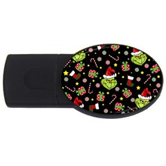 Grinch Pattern Usb Flash Drive Oval (2 Gb) by Valentinaart
