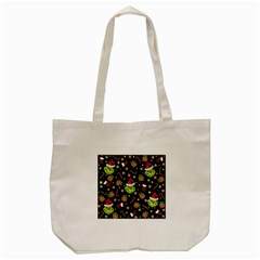 Grinch Pattern Tote Bag (cream) by Valentinaart